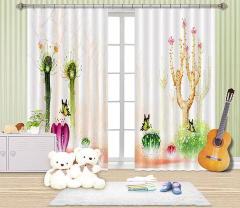 3D Cactus 2458 Curtains Drapes