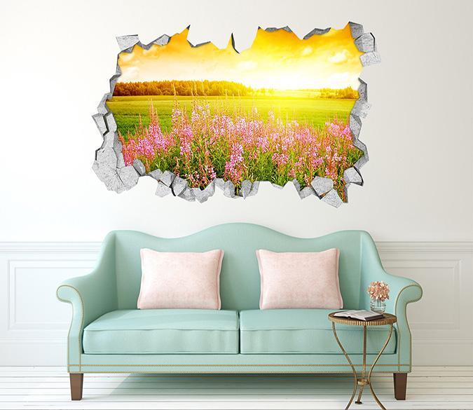 3D Grassland Flowers Sunshine 329 Broken Wall Murals Wallpaper AJ Wallpaper