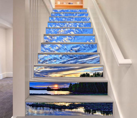 3D Lake Sunset Clouds Sky 389 Stair Risers