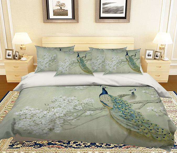 3D Flowers Tree Peacocks 148 Bed Pillowcases Quilt Wallpaper AJ Wallpaper