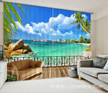 3D Balcony Sea Scenery 1337 Curtains Drapes Wallpaper AJ Wallpaper