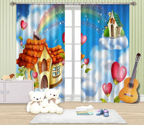 3D Sky Rainbow Houses 2466 Curtains Drapes