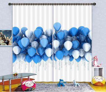3D Blue Balloons 2249 Curtains Drapes
