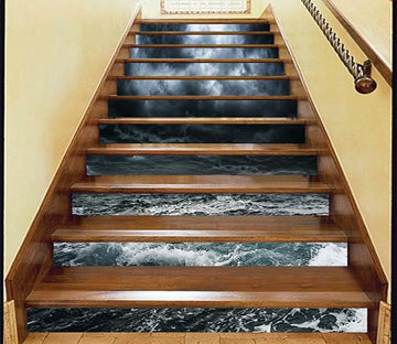 3D Dark Clouds Sea 865 Stair Risers Wallpaper AJ Wallpaper