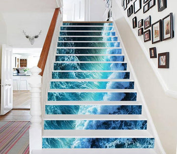 3D Pretty Wave Line 596 Stair Risers Wallpaper AJ Wallpaper