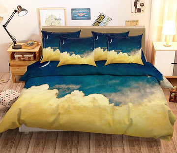 3D Stars Sky Clouds 100 Bed Pillowcases Quilt