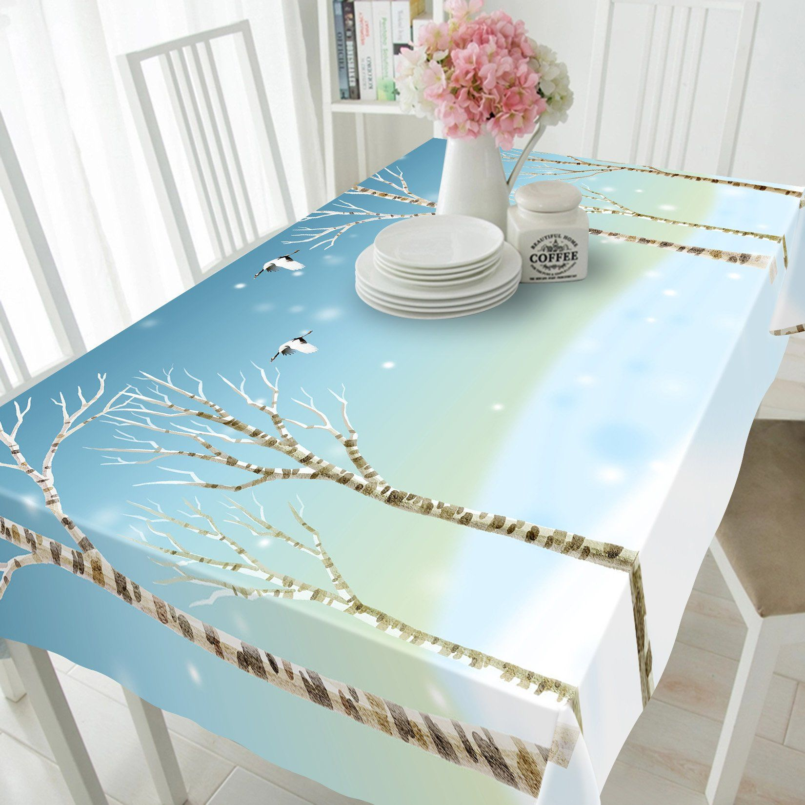 3D Bare Trees And Birds 152 Tablecloths