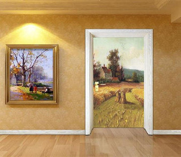 3D autumn field straw door mural Wallpaper AJ Wallpaper