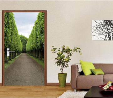 3D around the trees road door mural Wallpaper AJ Wallpaper