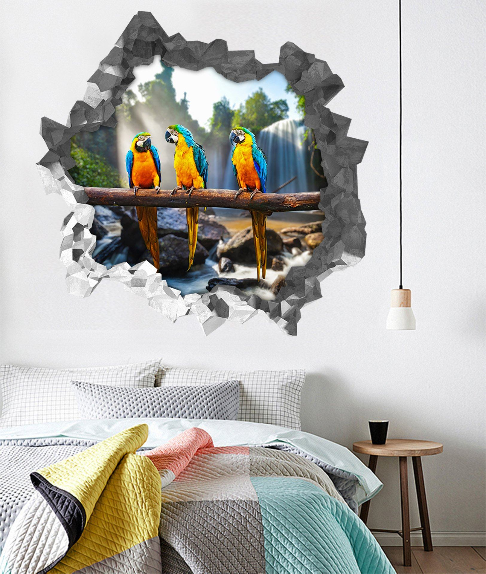 3D Waterfall Parrots 186 Broken Wall Murals Wallpaper AJ Wallpaper