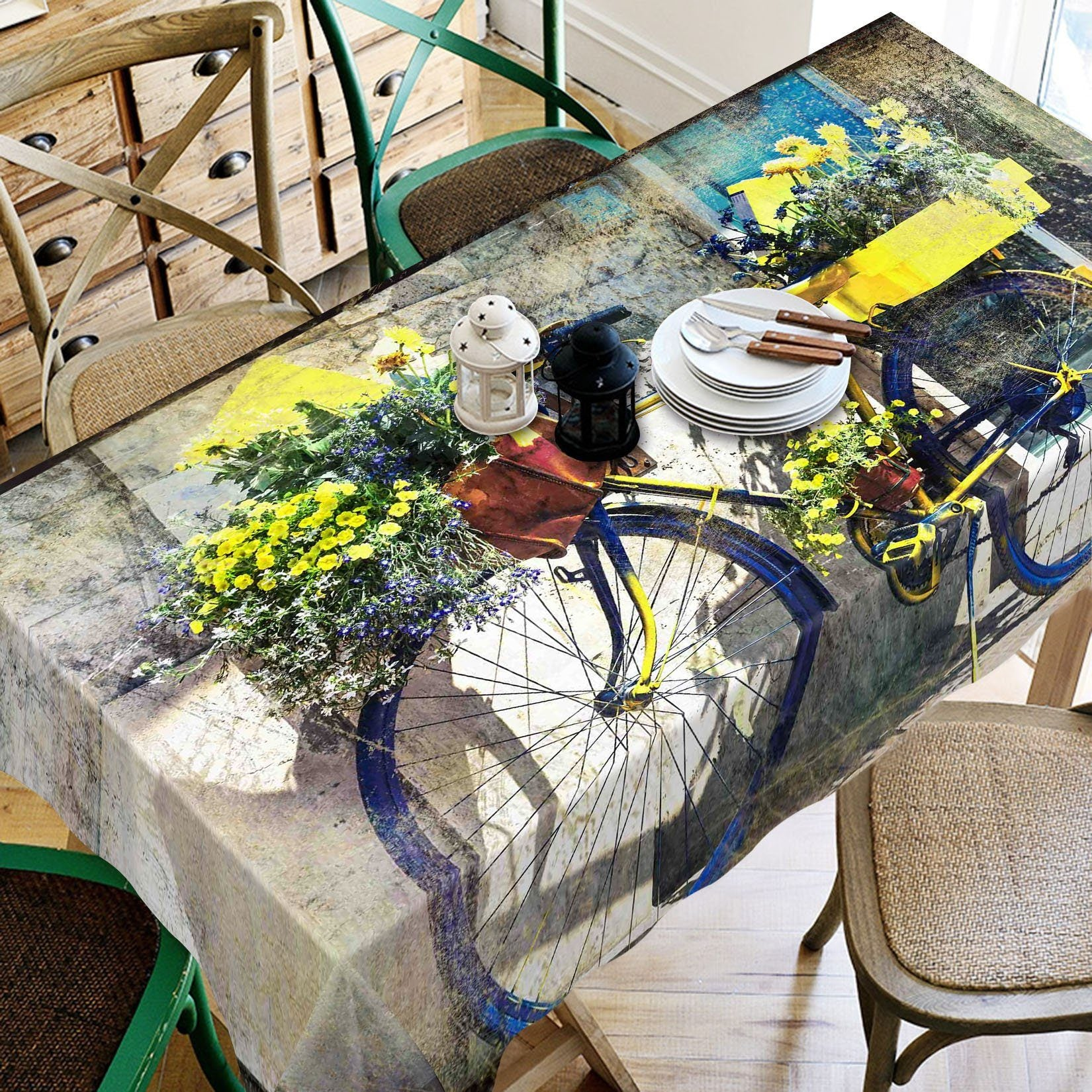 3D Bike Flowers 183 Tablecloths Wallpaper AJ Wallpaper