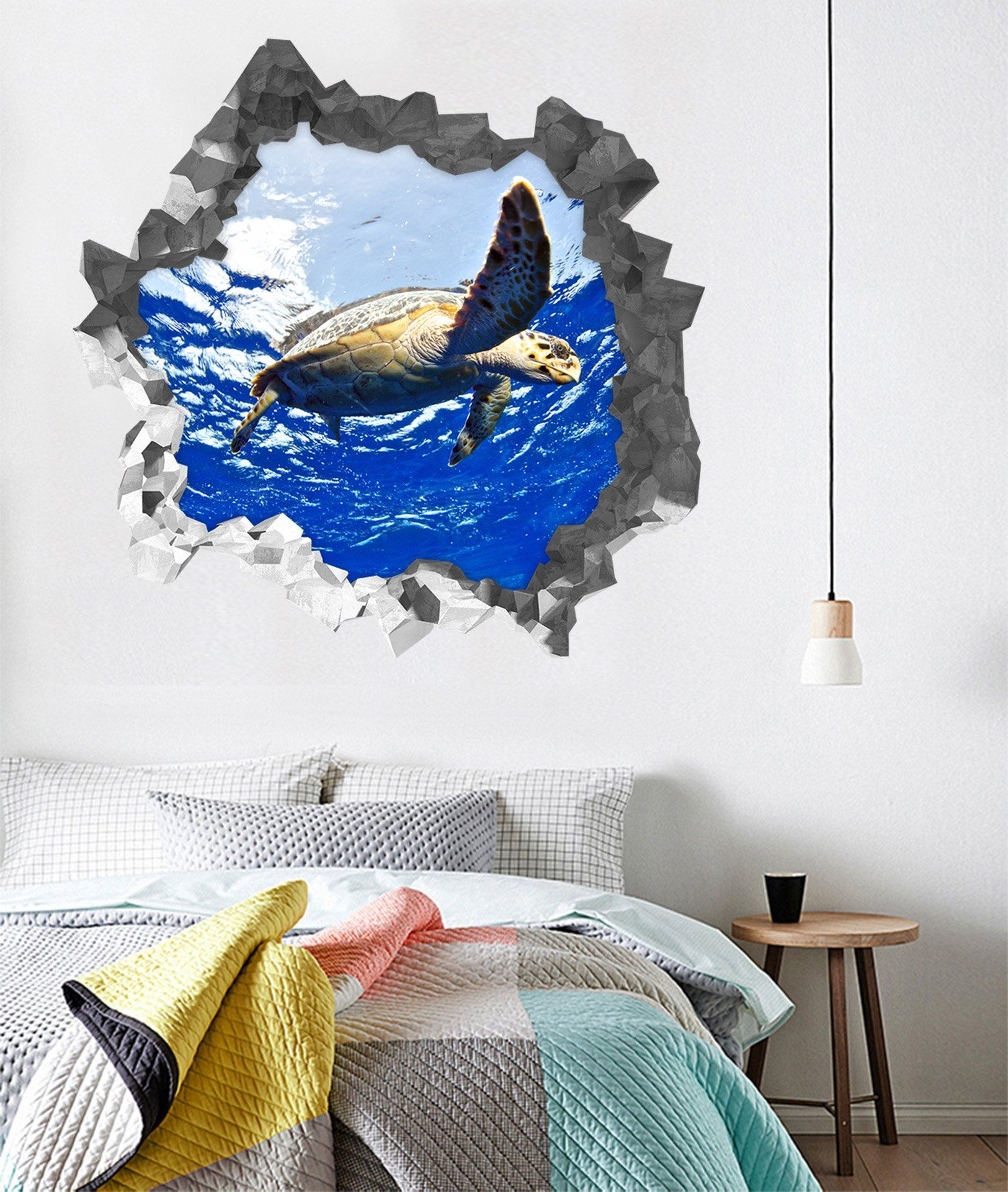3D Blue Ocean Turtle 192 Broken Wall Murals Wallpaper AJ Wallpaper