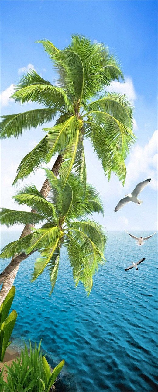 3D palm trees by the sea door mural Wallpaper AJ Wallpaper