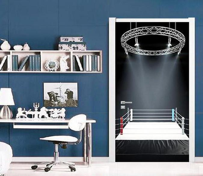 3D arena stage lighting door mural