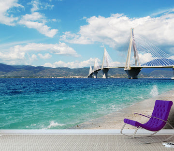 3D Beach Blue Sky Bridge 665 Wallpaper AJ Wallpaper