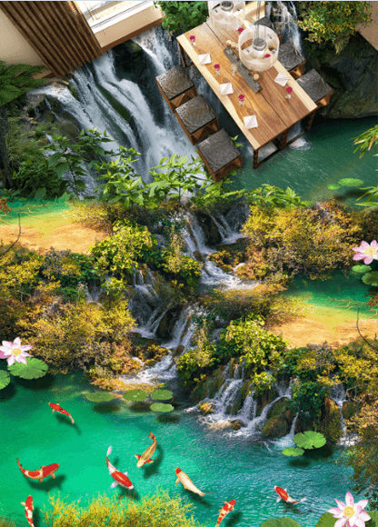 3D Waterfalls Floor Mural - AJ Walls - 2