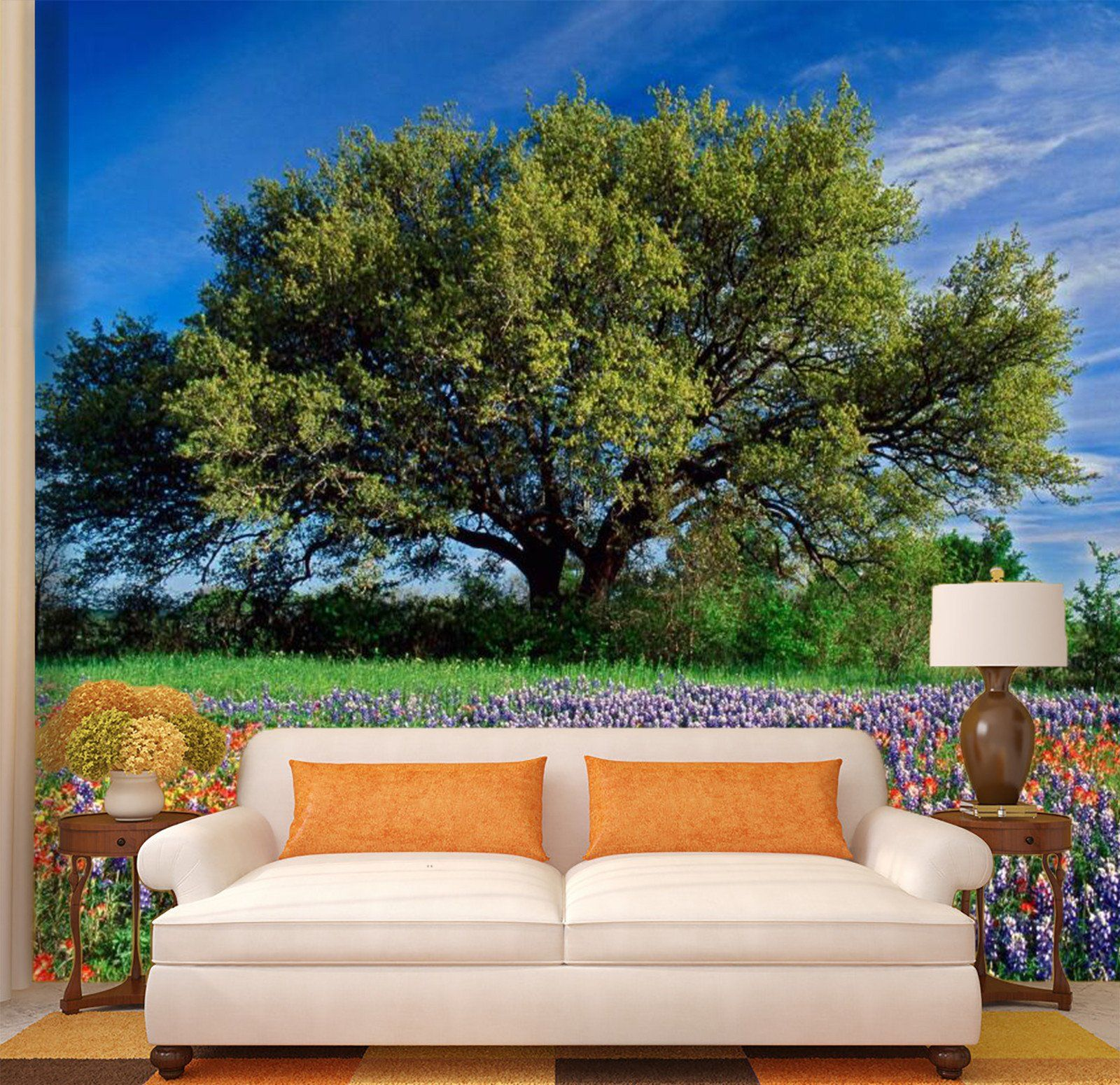 Big Green Tree With Lavender 3 Wallpaper AJ Wallpaper 1