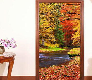 3D autumn tree fallen leaves river water door mural Wallpaper AJ Wallpaper