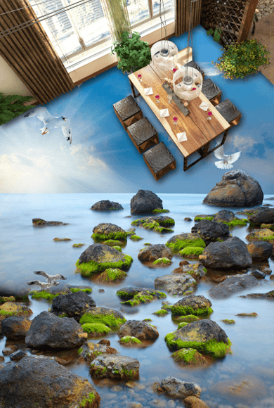 3D Sea Scenery Floor Mural Wallpaper AJ Wallpaper 2