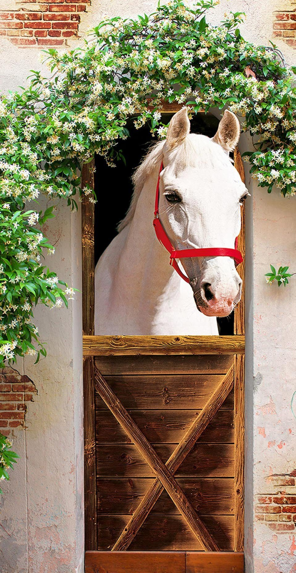 3D flowers covered stables door mural Wallpaper AJ Wallpaper