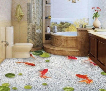 3D Goldfish Floor Mural Wallpaper AJ Wallpaper 2