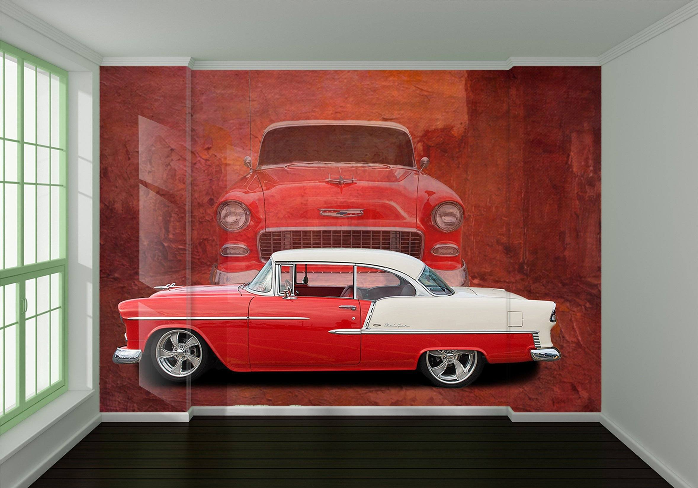 3D Atuo Red 904 Vehicle Wall Murals Wallpaper AJ Wallpaper 2
