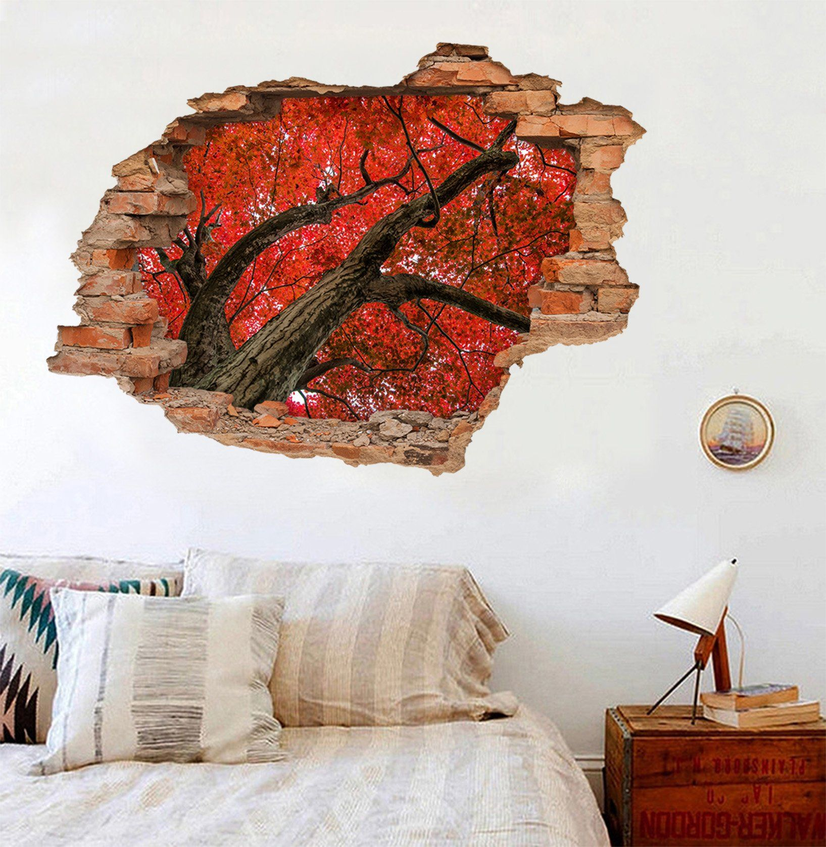 3D Tree Red Leaves 199 Broken Wall Murals Wallpaper AJ Wallpaper