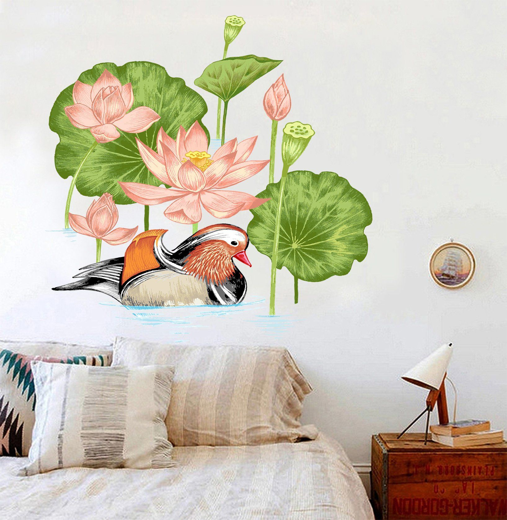 3D Mandarin Duck Lotus 015 Wall Stickers Wallpaper AJ Wallpaper