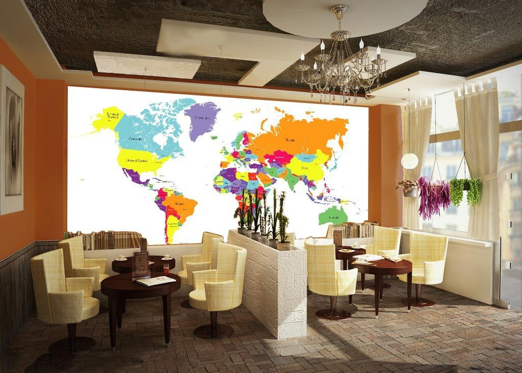 Colored World Map 3 Wallpaper AJ Wallpaper