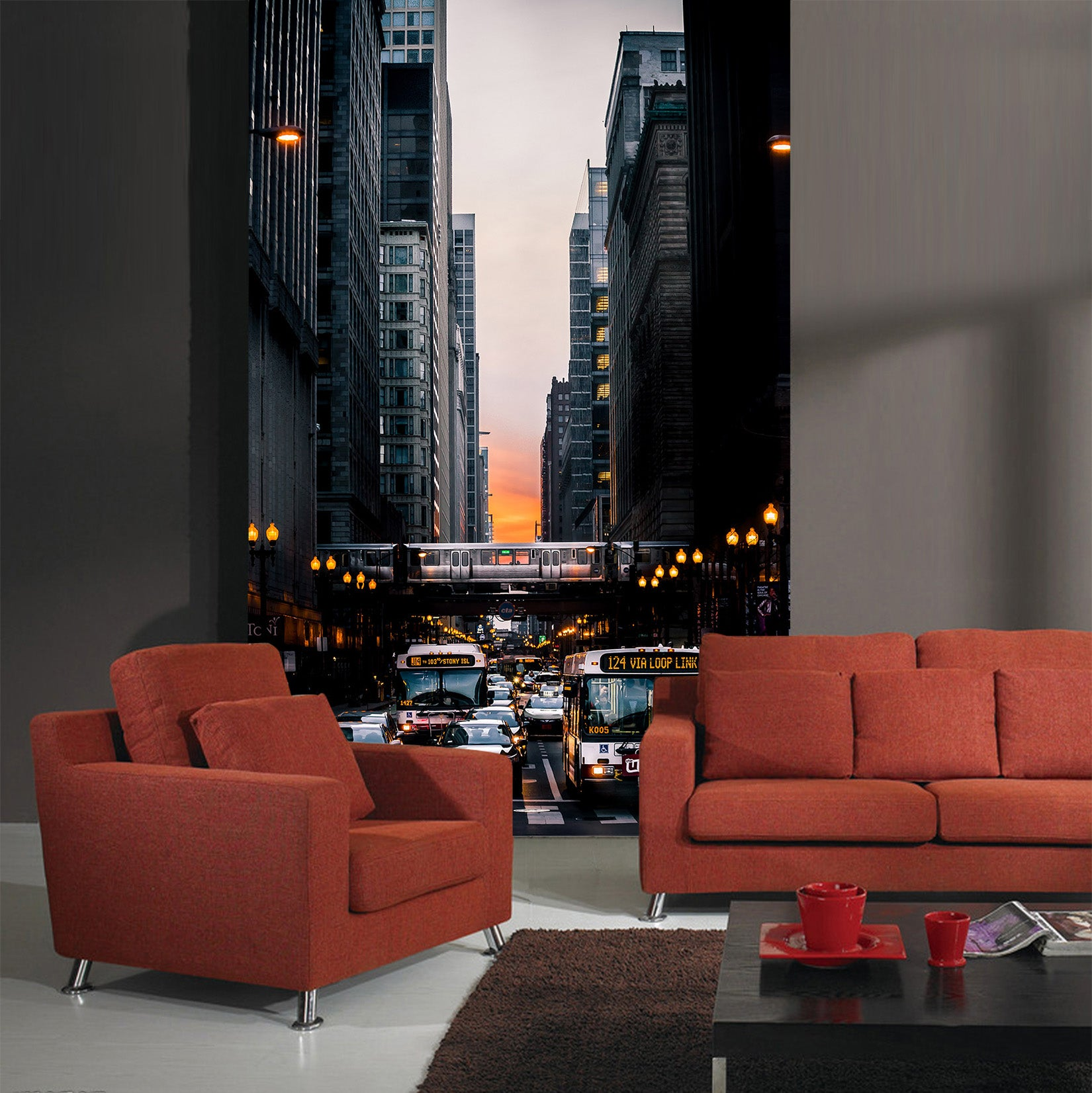 3D Chicago Traffic 430 Vehicle Wall Murals