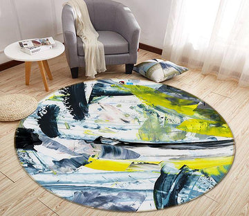 3D Abstract Ink 175 Round Non Slip Rug Mat