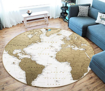 3D Gray Map 168 Round Non Slip Rug Mat Mat AJ Creativity Home