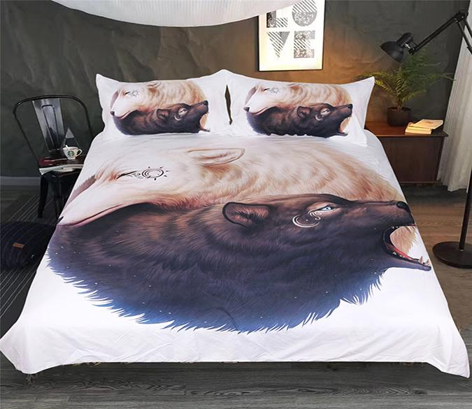 3D Wolf Hug 185 Bed Pillowcases Quilt Wallpaper AJ Wallpaper