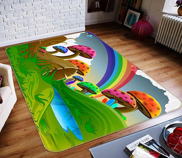 3D Rainbow Mushroom 493 Non Slip Rug Mat Mat AJ Creativity Home