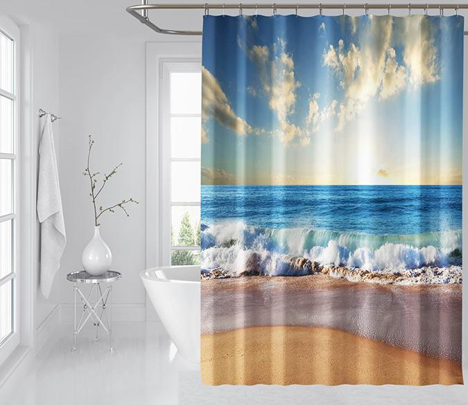 3D Beach Ocean 124 Shower Curtain 3D Shower Curtain AJ Creativity Home