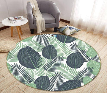 3D Big Leaves 201 Round Non Slip Rug Mat