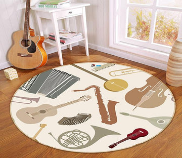 3D Music Instrument 259 Round Non Slip Rug Mat Mat AJ Creativity Home