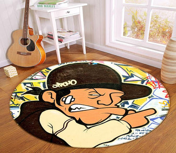 3D Bad Guy 361 Round Non Slip Rug Mat