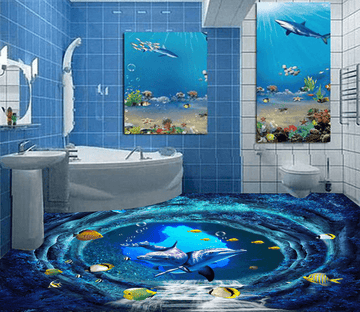 3D Deep Sea Cave 049 Floor Mural Wallpaper AJ Wallpaper 2