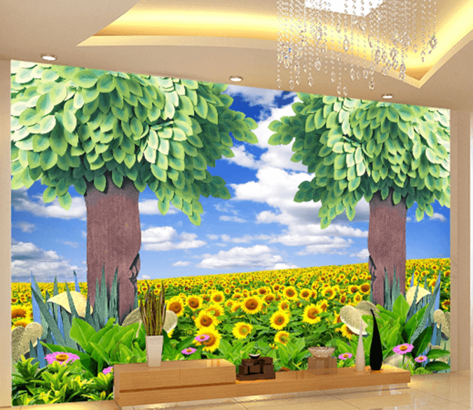 3D Sunflower Flower Field Tree 1633 Wallpaper AJ Wallpaper 2