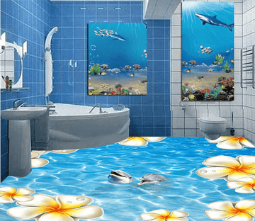 3D Water Flower 054 Floor Mural Wallpaper AJ Wallpaper 2