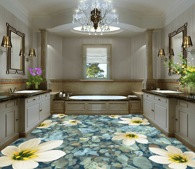 3D Blue Flowers 185 Floor Mural Wallpaper AJ Wallpaper 2