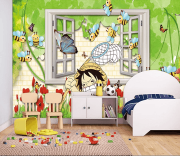 3D Child Catching Bees 810 Wallpaper AJ Wallpaper 2