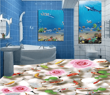 3D Pink Flower 018 Floor Mural Wallpaper AJ Wallpaper 2