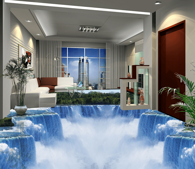 3D White Falls 033 Floor Mural Wallpaper AJ Wallpaper 2