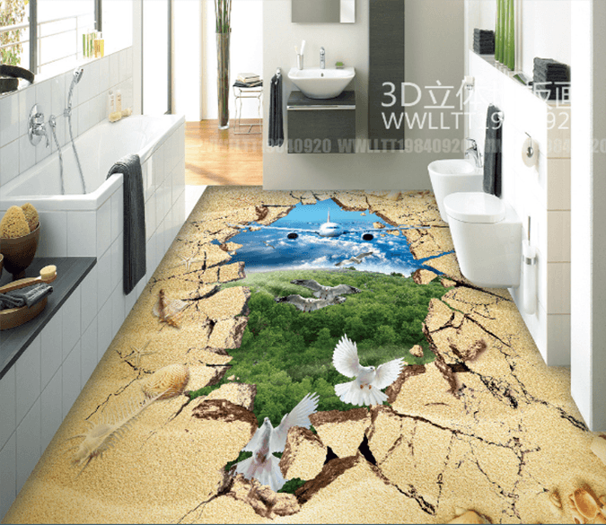 3D Airplane Crossing 147 Floor Mural Wallpaper AJ Wallpaper 2