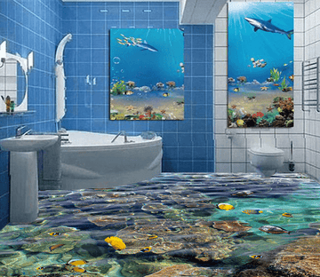 3D Water Stone 056 Floor Mural Wallpaper AJ Wallpaper 2