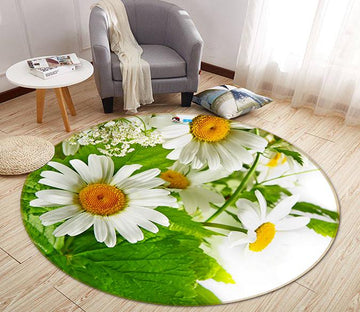 3D Bloom Chrysanthemum 068 Round Non Slip Rug Mat