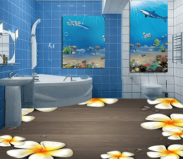 3D White Flower 037 Floor Mural Wallpaper AJ Wallpaper 2