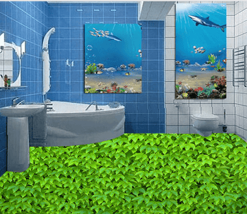 3D Green Leaf 014 Floor Mural Wallpaper AJ Wallpaper 2